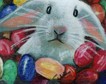 original art  aceo drawing easter bunny jelly beans