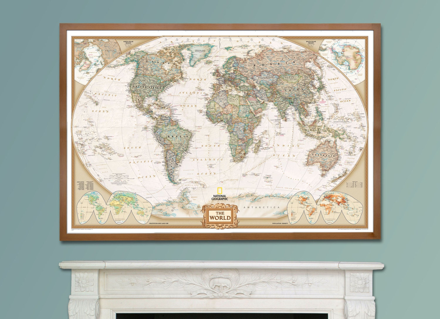 National geographic world executive map framed home decor zoom gumiabroncs Image collections