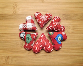 Country Christmas Hearts Ornaments Red and White Bowl Fillers Holiday Decorations