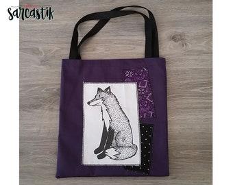 Fox black and purple tote bag