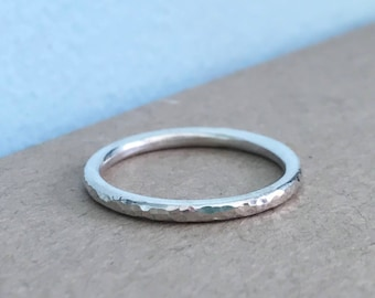 Skinny hammered stacking ring 2mm in sterling silver