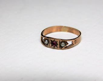 Antique Seed Pearl Baby 10K Rose Gold Ring - 10K Baby Ring - Victorian Baby Ring - Antique 10K Baby Ring - Rose Gold & Gemstone Ring