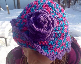Ready to ship!! Crochet girls cloche hat with flower and brim in purple pink and aqua