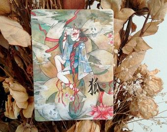 "Nine tailed fox kitsune yurei yokai spirit in a form of human kimono girl 4.25""x6"" watercolor postcard print Asian Japanese style painting"