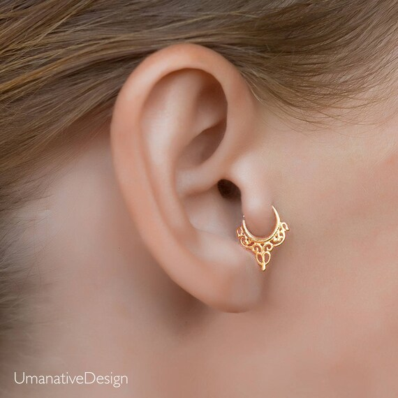 Rose gold tragus tragus earring tiny hoop earrings daith
