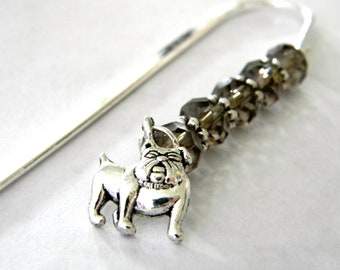 Bulldog Bookmark with Smoky Quartz Glass Beads Shepherd Hook Steel Bookmark Silver Color