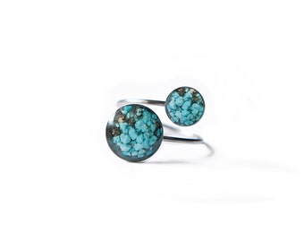 Turquoise Pebble Adjustable Resin Ring Genuine Turquoise Gemstones  Surgical Stainless Steel