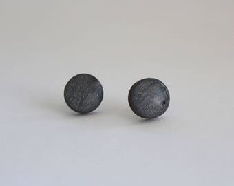 Dark Silver Stud Earrings, Wood Stud Earrings, Dark Silver Studs, Silver Stud Earrings, Titanium Posts, Hypoallergenic, For Sensitive Ears
