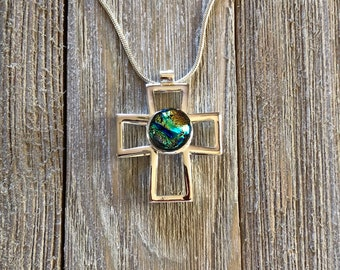 Blue & Gold Dichroic Fused Glass, Silver Cross, Pendant, Cross, Cross Pendant, Silver, Chain Included, Free Shipping