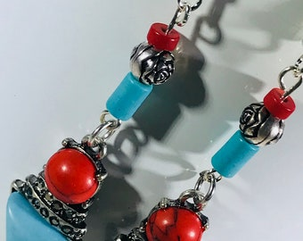 Turquoise and Red Bead/Charms Earrings