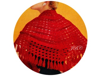 Vintage Red Fringe Shawl Crochet Pattern, Stole Pattern, Scarlet Evening Wrap Pattern, 20x61 C162