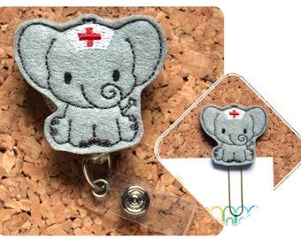 Badge Reels, Elephant Nurse Id Card Holder, Retractable Felt Badge Holder, Lanyard, Badge Pull, Gifts for Hospital Staff, 1333