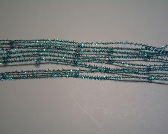 "Ribbon ""Garland"" brass wide 3.5 cm Blue turqoise"