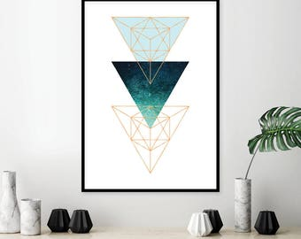 Downloadable Scandinavian Printable Art Scandi Geometric Modern Wall Art Minimalist Poster Print Triangles Aqua Turquoise Green Copper Gold