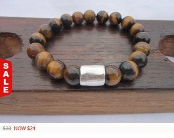 Sale -  Men's Tiger Eye Bracelet, Men Third Eye Chakra Tiger Eye Bracelet, Protection Tiger Eye Bracelet, Mens Luck Bracelet, Men's Healing