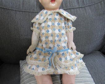 Doll Dress Feedsack Fabric for Large Vintage Baby Doll
