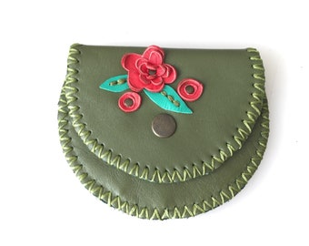 Flowers Leather Coin Bag, Change Purse with Wax Linen, Handmade Wallet