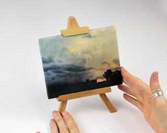 "Easel Art   ""Walking Thunder""   Storm Maturing   Tempest   Canvas Print + Display Stand   Tabletop   Art Gift   Thunderstorm   Handmade Art"