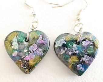 Heart Earrings XO - small heart shaped polymer clay dangle earrings with silver leaf