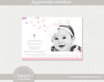 Butterfly Kisses Baptism Printable Invitation by tania's design studio