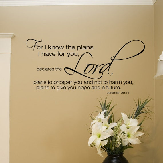 For I Know the plans for You Jeremiah 29:11 wall art decal