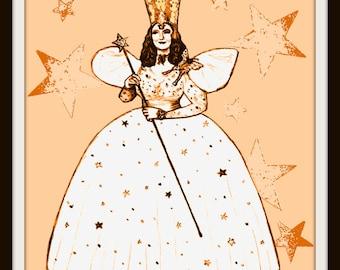 Wizard of Oz Poster, Glenda the Good Witch , Art Print 8x10 giclee