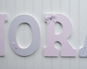 Wall Letters, Nursery  Wall Decor, Wooden Letters, Custom Name, Pink and Gray Patterns, Hanging letters