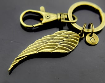 Guardian Angel Keychain, Bronze Angel Wing Charm Keychain, Guardian Angel Keyring, Personalized Keychain, Initial Charm, Initial Keychain