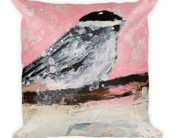 Square Pink Chickadee Bird Throw Pillow. Snowy winter Art by Katie Jeanne Wood
