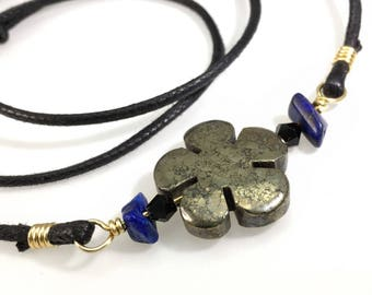 Iron Pyrite Flower Bar Necklace Natural Healing Fools Gold Crystal & Lapis Lazuli Wire Wrapped Brass, Bib, Handmade, Hypoallergenic Jewelry