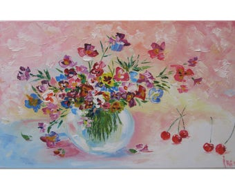 Style Gift-for-her Painting Floral art Flower painting Home decor Pansy flower Womens gift girlfriend gift Textured painting Friend gift Art