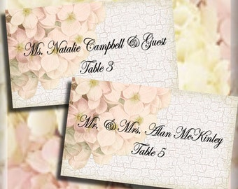 Mint gold tented place cards wedding escort cards folded or pink hydrangea flat or tented place cards editable template solutioingenieria Gallery