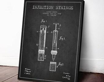 1904 Injection Syringe Canvas Art Print, Medical print, Medical Patent, Wall Art, Home Decor, Gift Idea, PFHC59C