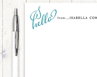 personalized notePAD - HELLO SCRIPT HEART - stationery - stationary - choose color