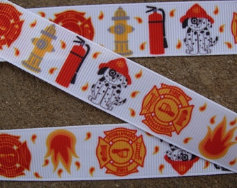 "Fire fighter dog ribbon 7/8"" grosgrain printed ribbon 3 yards  red fire head ribbon by the yard"