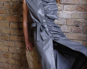 Long dress, maxi dress, vegan leather dress, eco-leather trench, gown, trench-dress,trench coat