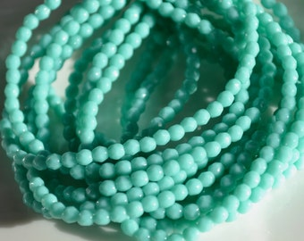 Medium Green Aqua 3mm Faceted FIre Polish Round Beads   50
