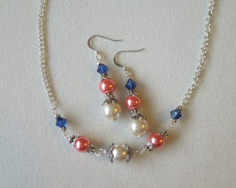 Jewelry Set Coral and Navy Blue Pearl and Crystal Bridesmaid Simple Necklace and Earring Set Swarovski Crystal Wedding Silver