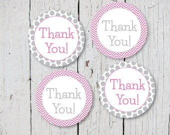 Thank You! Pink and Gray Deco Dots - Printable Stickers, Cupcake Toppers or Decorations