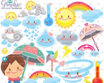 Weather Clipart, Weather Graphics, COMMERCIAL USE, Weather Clip Art, Kawaii Clipart, Weather Party, Planner Accessories, Graphics