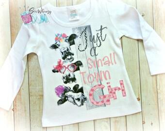 Farm girl shirt- Small town girl shirt- Country Girl- Cowgirl- Farm Birthday shirt- Cow shirt- Monogram Girl- Farm animal- Birthday girl