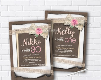 Birthday invitation, burlap invitation Vintage Rustic Lace Sackcloth invite 1st 2nd 3rd 4th kdis 30th 40th 50th 60th 70th 80th - card 285