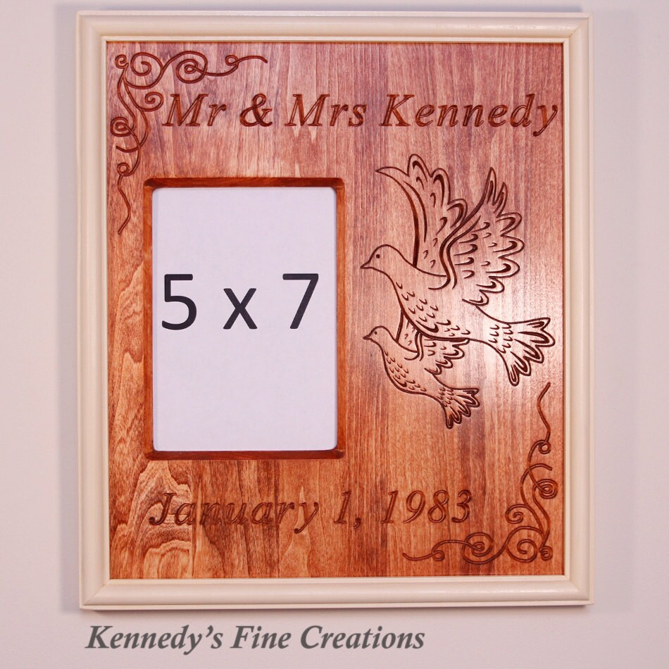 Personalized Wedding Engraved Stained Wood Picture Double Frame with ...