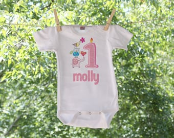 Owl Vintage First Birthday Body Suit  Personalized
