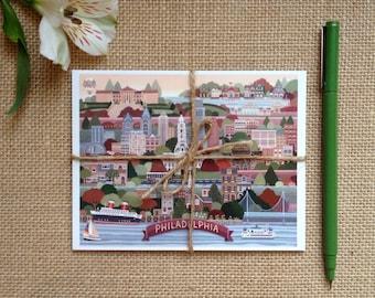 Philadelphia Postcard Set, Map of Philadelphia Postcards, Set of 6