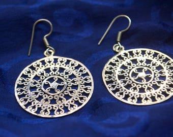 Spiritual Earrings. Gypsy Earrings. Round Dangle Earrings.