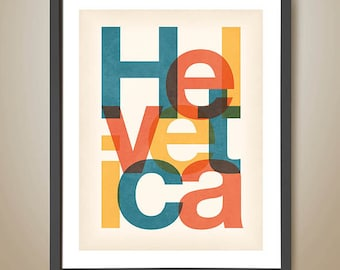 Helvetica Poster. Modernist. Typography. Wall art. Font. Typeface. Timeless. Popular Type.