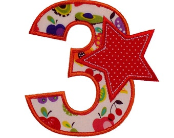 """Number Three Birthday Set Appliques Machine Embroidery Designs Applique Patterns in 3 variations and 4 sizes - 3"""", 4"""", 5"""" and 6"""""""