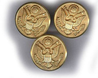 vintage MILITARY BUTTONS brass with EAGLE metal shank very 3D button articulated three buttons waterbury