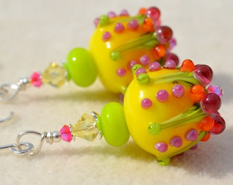 SO SUNNY-Handmade Lampwork and Sterling Silver Earrings